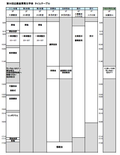 第59回近畿産業衛生学会 タイムテーブル